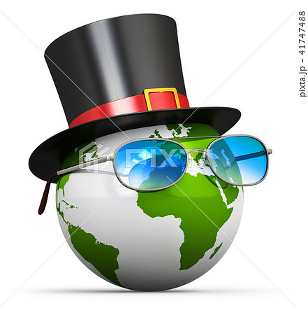 Earth globe with cylinder hat and eyeglasses 41747488