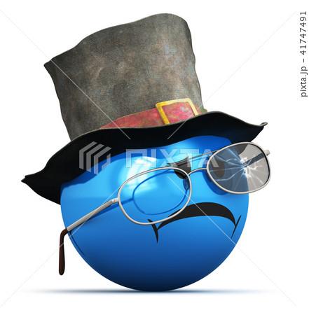 Sad smiley old crumpled hat and broken glasses 41747491