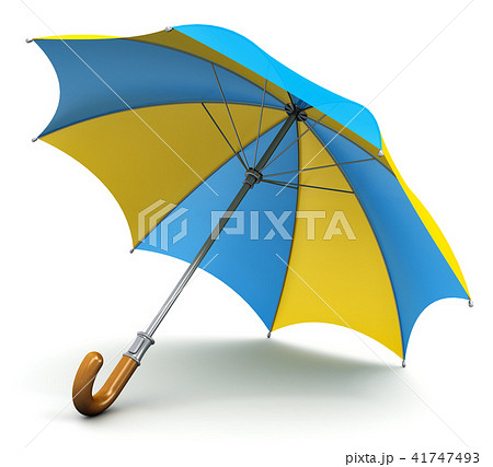 Blue and yellow umbrella or parasol 41747493