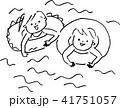 プール 子ども イラスト 水遊び 海水浴 モノクロ 41751057