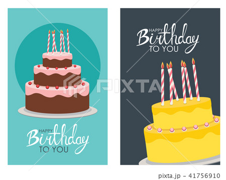 happy birthday poster background with cake vector illustrationの
