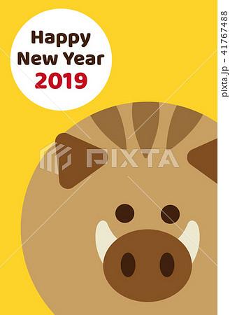 2019年 亥年 年賀状 オレンジ 41767488