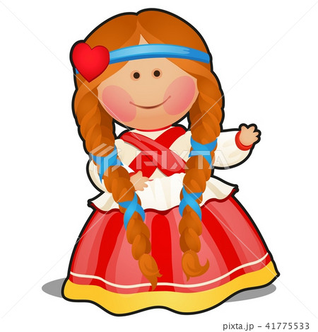 Rag doll in the form of a girl in Russian folk clothes isolated on white background. Vector cartoon 41775533