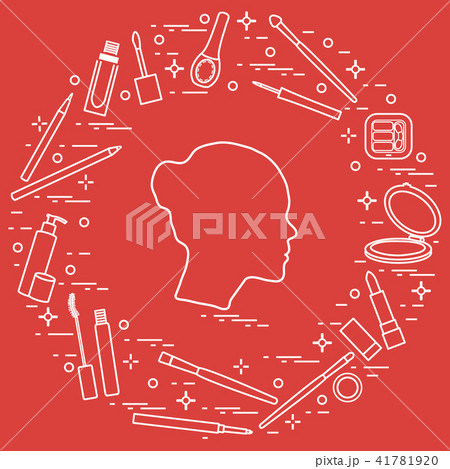 Silhouette of female head and various accessories 41781920