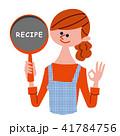 エプロン姿でフライパンを持った女性 レシピ 41784756