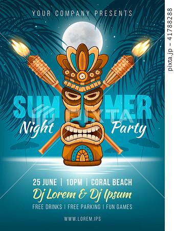 summer night party poster templateのイラスト素材 41788288 pixta