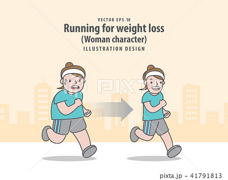 compare woman character running for weight lossのイラスト素材
