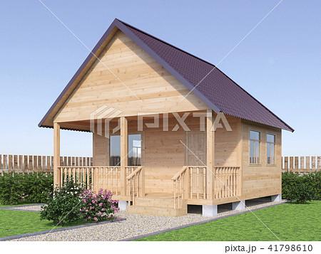 Wooden village house or sauna in the garden exterior. 3d render illustration. 41798610