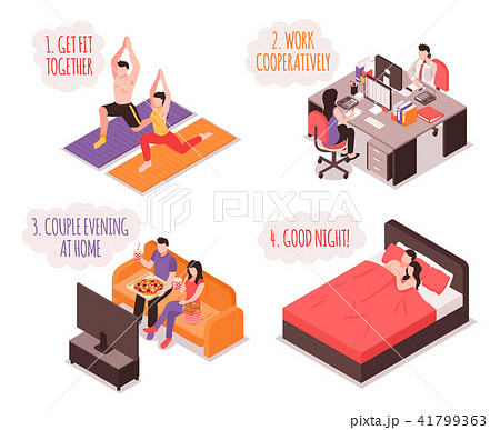 Daily Life Couple Isometric Concept 41799363