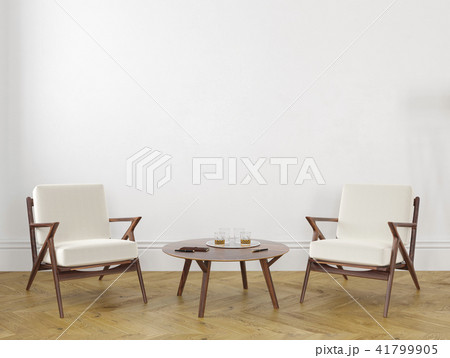 White empty room with armchairs table. 3d render mock up. 41799905