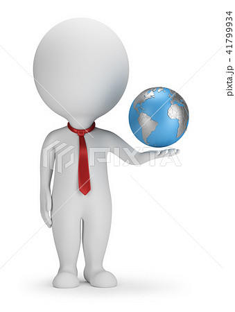 3d small people - manager and Earth 41799934