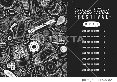 fast food vector banner on chalk board street food menu design