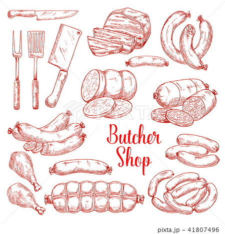 Vector sketch icons of butchery meat products 41807496
