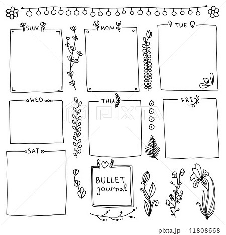 set of doodle frames and design elementsのイラスト素材 41808668