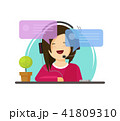 Girl chatting vector illustration, flat cartoon woman character with headphones with chat bubbles 41809310