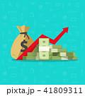 Profit money or budget vector illustration, flat cartoon pile of paper cash, rising graph arrow up 41809311