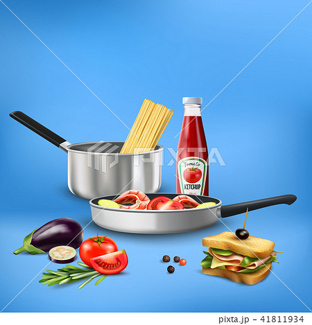 Realistic Kitchen Tools Food Composition 41811934