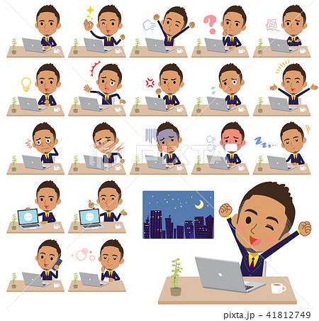 Short hair businessman black_desk work 41812749