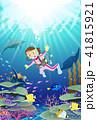 色とりどりの魚が泳ぐサンゴ礁の海をスキューバダイビングする女性 41815921