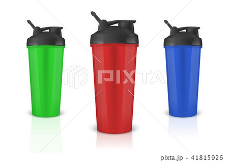 Vector realistic 3d green, red and blue empty glossy metal shaker for sports nutrition with black 41815926