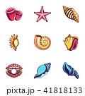 Seashell icons set, cartoon style 41818133