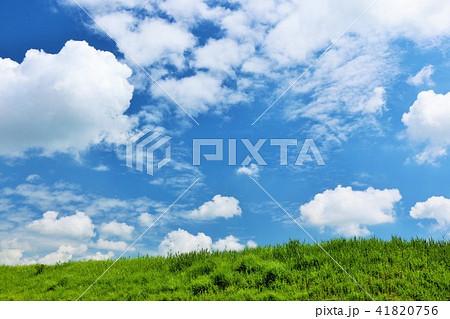 気持ちいい青空と白い雲と草原 41820756