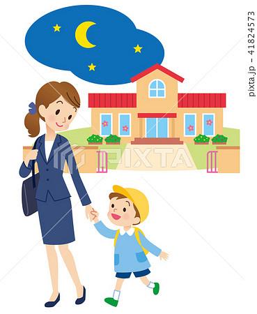 保育園 母親とこども 夜 41824573