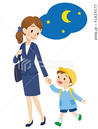 保育園 母親とこども 夜 41824577