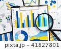 報告書の分析。マーケティングデータの収集。グラフと虫眼鏡。 41827801