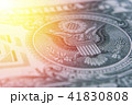 US Dollar bill, super macro, close up photo. Details of bills. 41830808