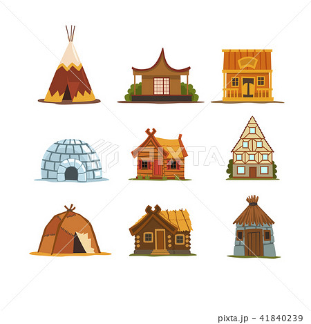 traditional buildings of different countries set houses from around