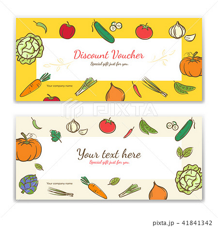 vegetable theme gift certificate voucher gift cardのイラスト素材