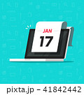 Calendar date on laptop computer screen vector illustration, flat cartoon calendar on pc display 41842442