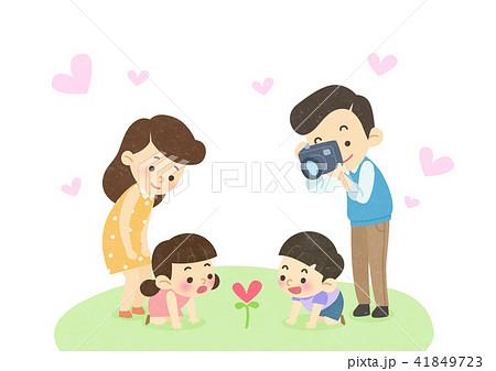 Vector - Enjoy spring season with happy family illustration 005 41849723