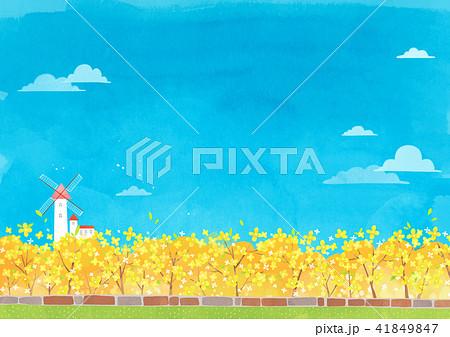 Vector - beautiful spring season landscape painting 005 41849847