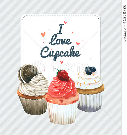 cupcake invitation card vector watercolor style のイラスト素材