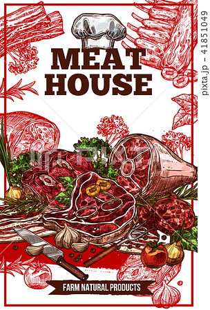 Vector sketch meat house poster 41851049