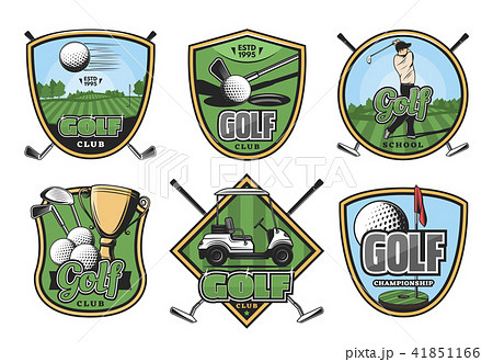 Golf sport retro badge with club, ball and golfer 41851166