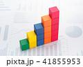 データ処理、データ分析のイメージ。グラフの背景に階段状の積木。 41855953