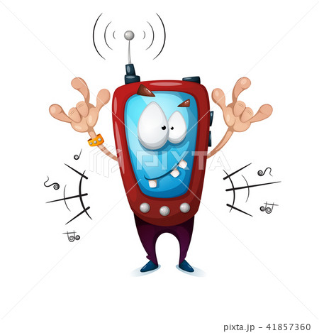 Funny, cute, crazy smartphone characters. Music illustration. 41857360