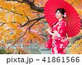女性 着物 紅葉の写真 41861566