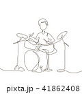 Schoolboy playing drums - one line design style illustration 41862408