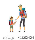 Father and son go camping - cartoon people characters illustration 41862424