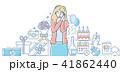 Happy birthday - colorful line design style illustration 41862440