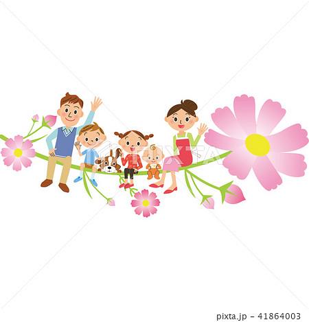 秋桜に座る家族 41864003