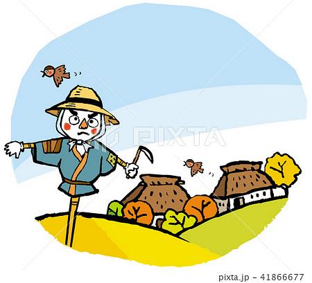案山子と藁葺き屋根の家 懐かしき風景 41866677