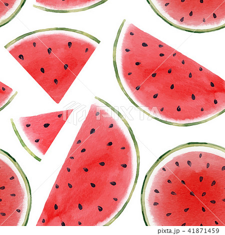 Watercolor watermelon seamless vector pattern 41871459