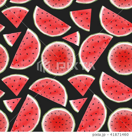 Watercolor watermelon seamless vector pattern 41871460