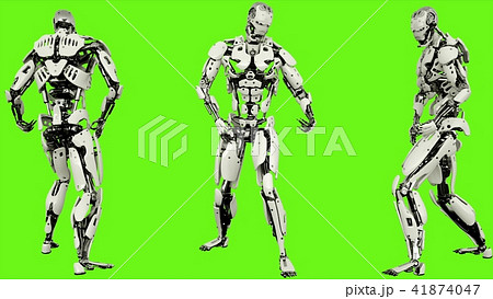 Robot android is playing guitar. Realistic looped motion on green screen background. 3D Rendering. 41874047