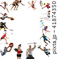 Sport collage about kickboxing, soccer, american football, basketball, ice hockey, badminton 41874350